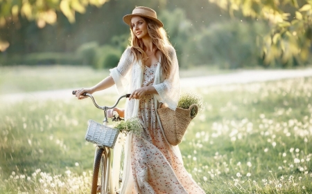 Girl with Bicycle - girl, meadow, hat, blond, bicycle, smile