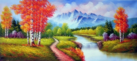 River in Fall - nature, trees, scenery, rivers, autumn, fall season, love four seasons, attractions in dreams, paintings, landscapes, mountains