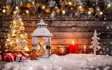 Gingerbread Candle And Present - White, Snow, Trees, Candles, House