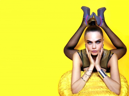 Cara Delevingne - pillow, English, legs, model, yellow, beautiful, heels, singer, 2019, Delevingne, stockings, actress, Cara, wallpaper, Cara Delevingne, top, sexy