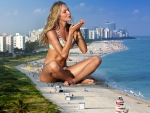 Giantess Candice Swanepoel at the Beach