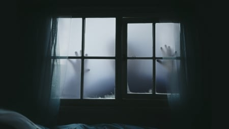 Let Me Out - ghost, gothic, dark, scary, Halloween, scared, Firefox theme, fright, hands, windows