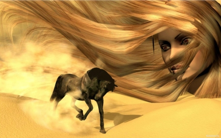 Sands Of Cowgirls . . - cowgirl, digital art, digital media, horses, women, fantasy, western