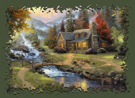 cottage in autumn - painting, autumn, cottage, abstract