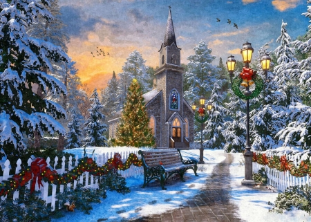 Christmas Church - ornaments, snow, digital, path, trees, sky, winter, artwork