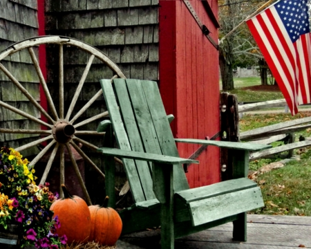 Peaceful Place - Chair, Peaceful Place, Pumpkins, USA Flag