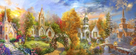 A Church for all Seasons - churches, garden, summer, spring, winter, autumn, chapels, religious, love four seasons, attractions in dreams, paintings