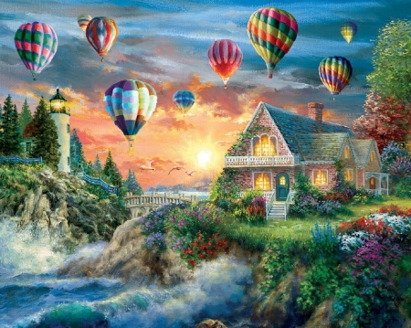 Balloons over Sunset Cove - oceans, bridges, love four seasons, spring, attractions in dreams, clouds, sky, paintings, balloons, sunsets, lighthouses, summer, flowers, garden, nature