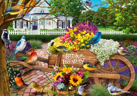 Bed And Breakfeast - cottage, painting, flowers, birds, cart, trees, artwork