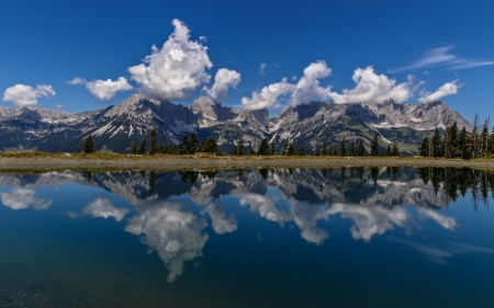 The Ridge of the Wilder Kaiser - mountains, tyrol, nature, alps, clouds, reflection, lake