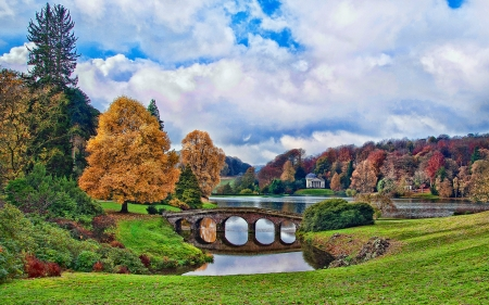 Famous Garden at Stourhead,England - pond, stourhead, bridge, england, park, clouds, trees, Nature, autumn