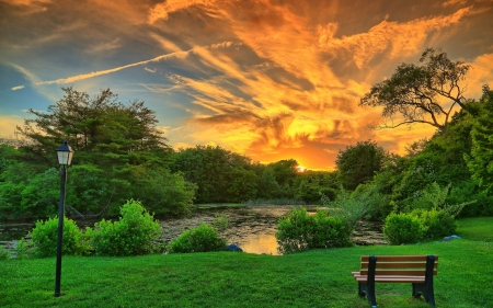 Beautiful Sunset - pond, lantern, bench, nature, sunset, sky, trees, landscape