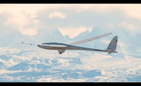 Perlan 2 at Altitude - Glider, Clouds, Andes, Airplane, Mountains