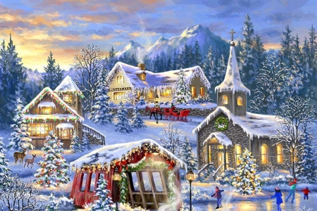Christmas Village - sleigh, Christmas, villages, holidays, Christmas Village, houses, love four seasons, Christmas Trees, valley, winter, xmas and new year, paintings, snow, churches, nature