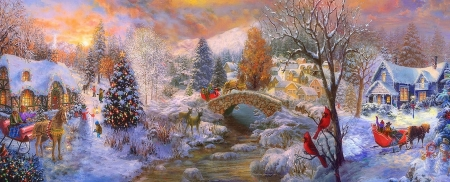 To Grandma's House We Go - sleigh, Christmas, villages, holidays, bridges, houses, love four seasons, snowman, winter, xmas and new year, paintings, snow, nature, streams, Christmas trees