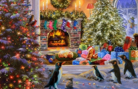 A Magical View to Christmas - penguins, winter, Christmas, holidays, Christmas tree, houses, love four seasons, snowman, xmas and new year, paintings, decorations, nature, gifts