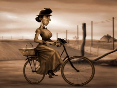Miss Gulch - Basket, Wizard Of Oz, Bicyle, Woman, Fence, Hat
