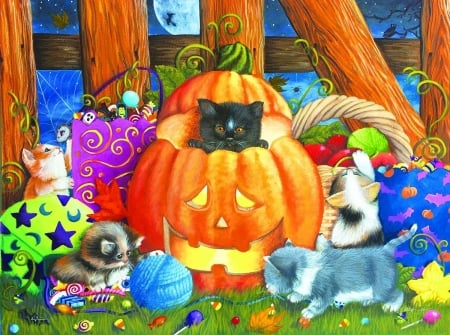 Halloween Surprise - candy, paintings, holiday, halloween, halloween pumpkins, love four seasons, cat, pumpkins, toys