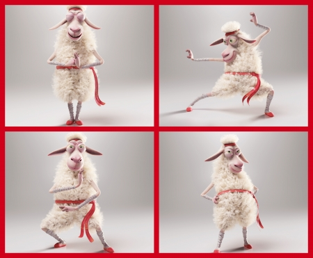 Arno the Sheep collage - fantasy, arno, oaie, steferson rocha, collage, white, red, sheep, funny, ninja