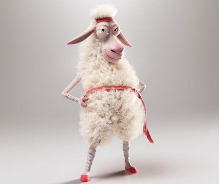 Arno the Sheep - red, sheep, fantasy, oaie, steferson rocha, funny, white, ninja, arno