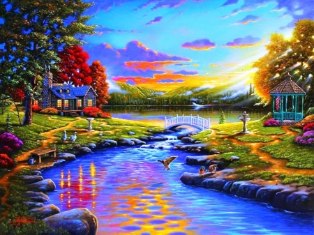 painting - painting, river, house, autumn