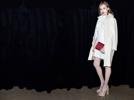 Maddison Brown - dress, Australian, Brown, legs, model, black white, purse, Maddison Brown, beautiful, heels, coat, 2019, actress, wallpaper, Maddison, white, hot