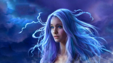 Fantasy Beauty - art, hair, face, girl, digital