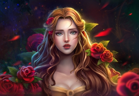 Rose Girl - face, roses, woman, art, digital, flowers