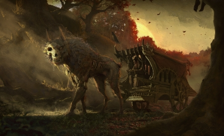 :D - halloween, wolf, suttipong kuntimoon, bones, zombie, carriage, creature, dog, fantasy