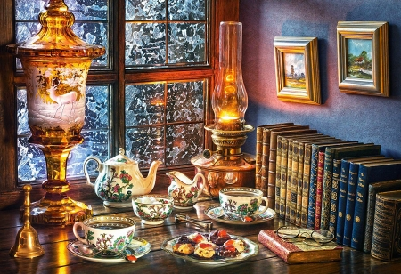 Afternoon Tea - porcelain, table, lamp, window, books, painting, ice, winter
