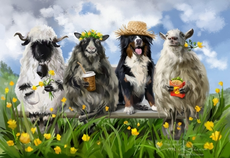 Alpine Story - alpine story, dog, animal, art, lorri kajenna, luminos, yellow, caine, fantays, sheep, green, oi, flower