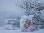 Child with Samoyed Dog in Winter