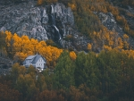 House in Autumn Rocky Mountains