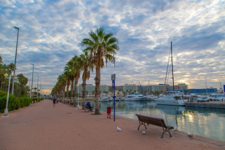 Alicante Spain - Nature, Clouds, Harbors, Palm Trees, Boats, Spain, Benches