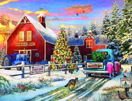 Red Barn Farms - Christmas, holidays, Christmas tree, farms, love four seasons, pick-up, winter, xmas and new year, roads, paintings, snow, red barn