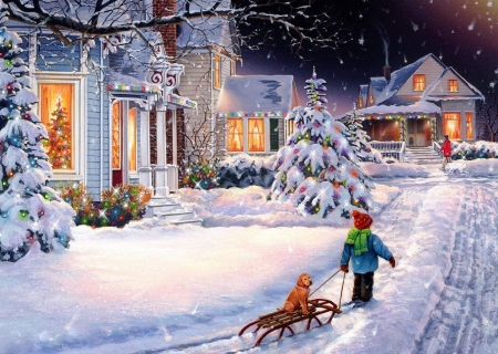 Christmas Night - love four seasons, winter, xmas and new year, sleigh, Christmas, shop, holidays, houses, paintings, boy, snow, dog