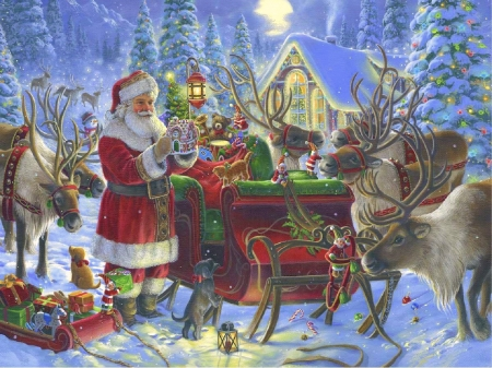 Santa's Sleigh - moons, villages, Christmas, sleigh, holidays, love four seasons, santa claus, winter, xmas and new year, paintings, snow, reindeer, forests, gifts