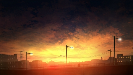 Sunset Blvd. - art, sunset, anime sun, sun art