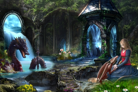 dragon - mystery, stairs, trees, dragon, lake, cave, fantasy, bridge, girl, waterfall, pansies, nature, chapel, blue, light