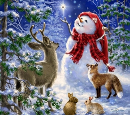 Heaven and Nature Sing - nature, snowman, winter, animals, Christmas, stars, white trees, love four seasons, paintings, snow, xmas and newyear, forests