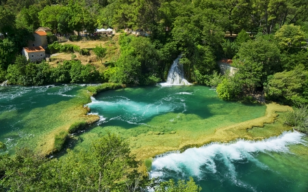 Waterfall in the Park - croatia, waterfall, nature, river, park, trees, bushes