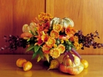 Autumn Flowers And Pumpkins