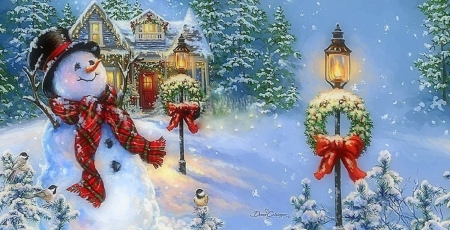 Old Fashioned Christmas - snow, houses, home, snowman, winter, Christmas, Christmas tree, love four seasons, wreathes, xmas and new year, paintings