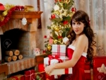 Beautiful Christmas Lady With Gifts