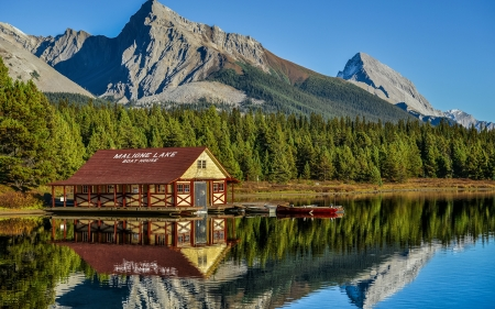 Houses Near The Piers - lake, forest, house, piers, mountains, nature, park