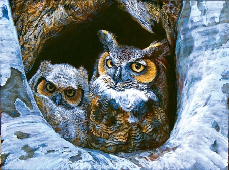 Mom and Baby - winter, tree, birds, painting, owls