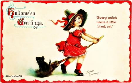 :) - child, hat, card, red, witch, halloween, black, cat, broom, retro, girl, copil, vintage