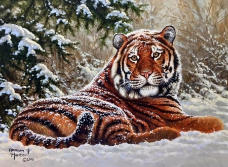 Siberian tiger - art, painting, abraham hunter, tigru, tiger, pictura, winter, animal, iarna