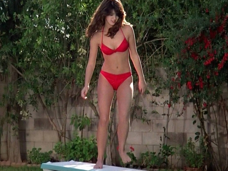 Phoebe Cates - red, Cates, legs, model, beautiful, Phoebe, sexy, wall, bikini, Phoebe Cates, 2019, young, actress, feet, wallpaper, diving board