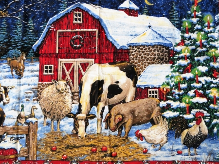 Happiness For The Holiday - holiday, winter, animals, barn, season